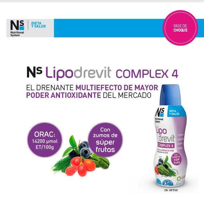 LIPODREVIT: 4 EN 1: diuretic, termogenic, desintoxicant, antioxidant, i a més a més vitamines 1,B1, B2, B3, B6, B12, C,D,E I MINERALS COM Zn i Cr