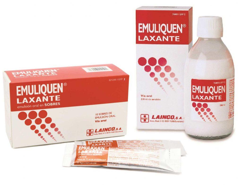 Emuliquen laxante emulsión oral contiene un su composición parafina líquida y picosulfato de sodio, principios activos indicados para ablandar las heces y facilitar su evacuación.