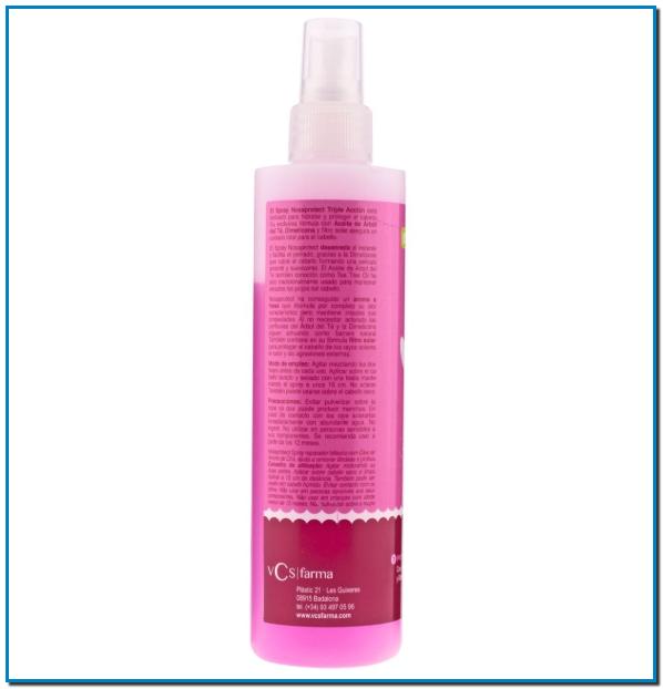 Nosaprotect, para facilitar el peinado con Aceite de Árbol del Té, Dimeticona y filtro solar el spray actúa como protector elimina los piojos y el pelo rebelde.