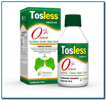 Comprar Tosless es 0% azúcar Tosless producto natural con todos los beneficios del Tomillo, Llantén, Eucaliptus y Radal.