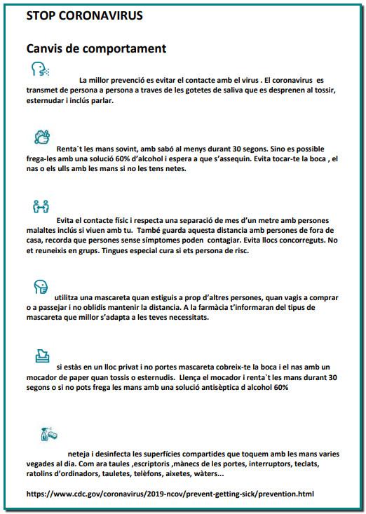 STOP CORONAVIRUS Canvis de comportament per Farmacia Mitjavila Andorra la Vella