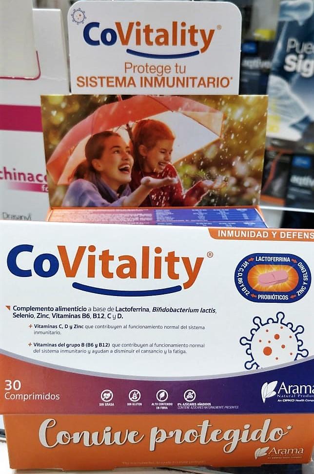 COVITALITY: REFUERZA TU SISTEMA INMUNITARIO Complemento alimenticio a base de Lactoferrina, Probiótico (Bifidobacterium lactisBI-04®), Vitaminas C y D, Minerales (Selenio y Zinc) y Vitaminas del grupo B (B6 y B12)