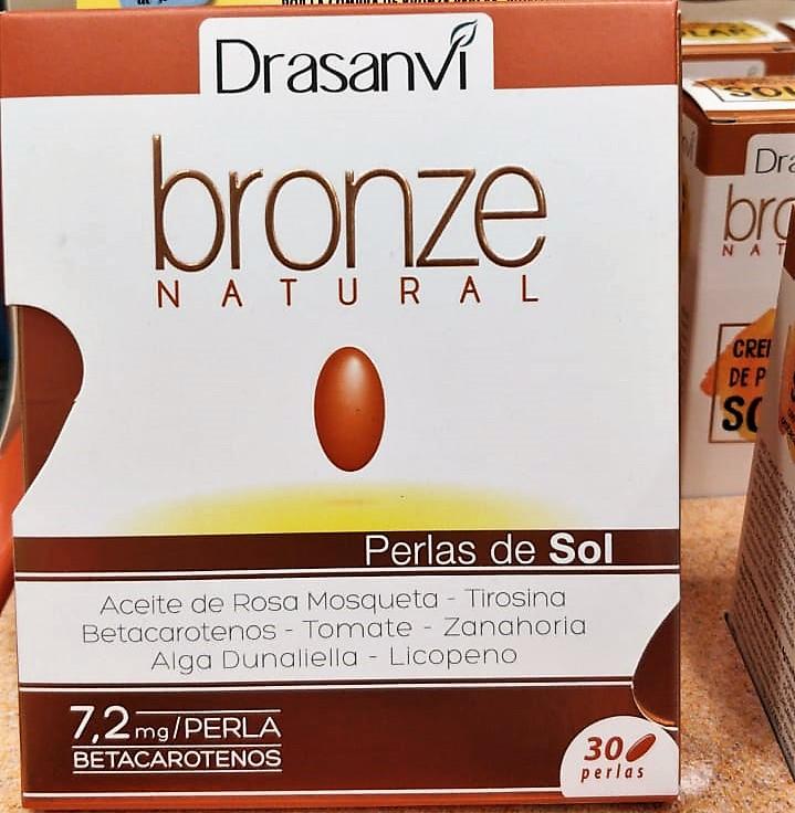 DRASANVI Bronze Natural a base de aceite de Rosa de Mosqueta, rica en ácidos grasos esenciales, extracto seco de Tomate, Zanahoria y Alga Dunaliella, extractos ricos en pigmentos como el Licopeno, Betacarotenos y Luteína